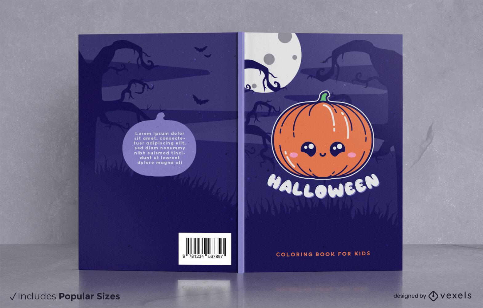 Dise?o de portada de libro de calabaza kawaii de Halloween