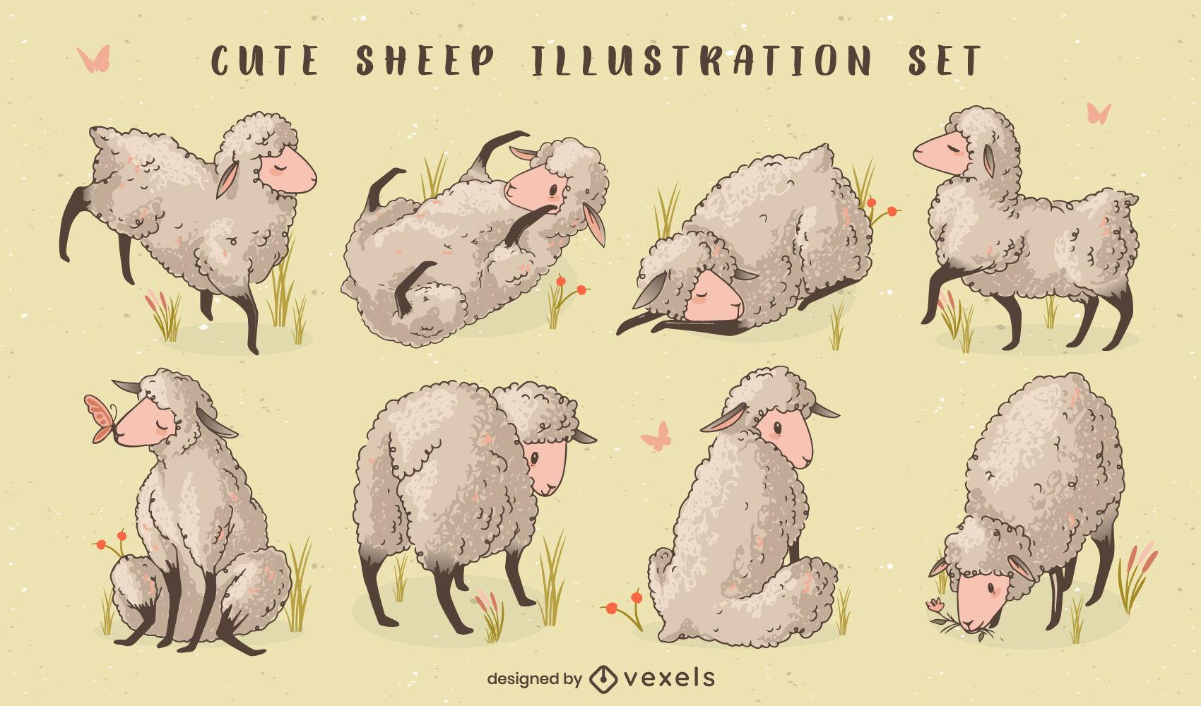 Conjunto de ilustração de animais de fazenda de ovelhas