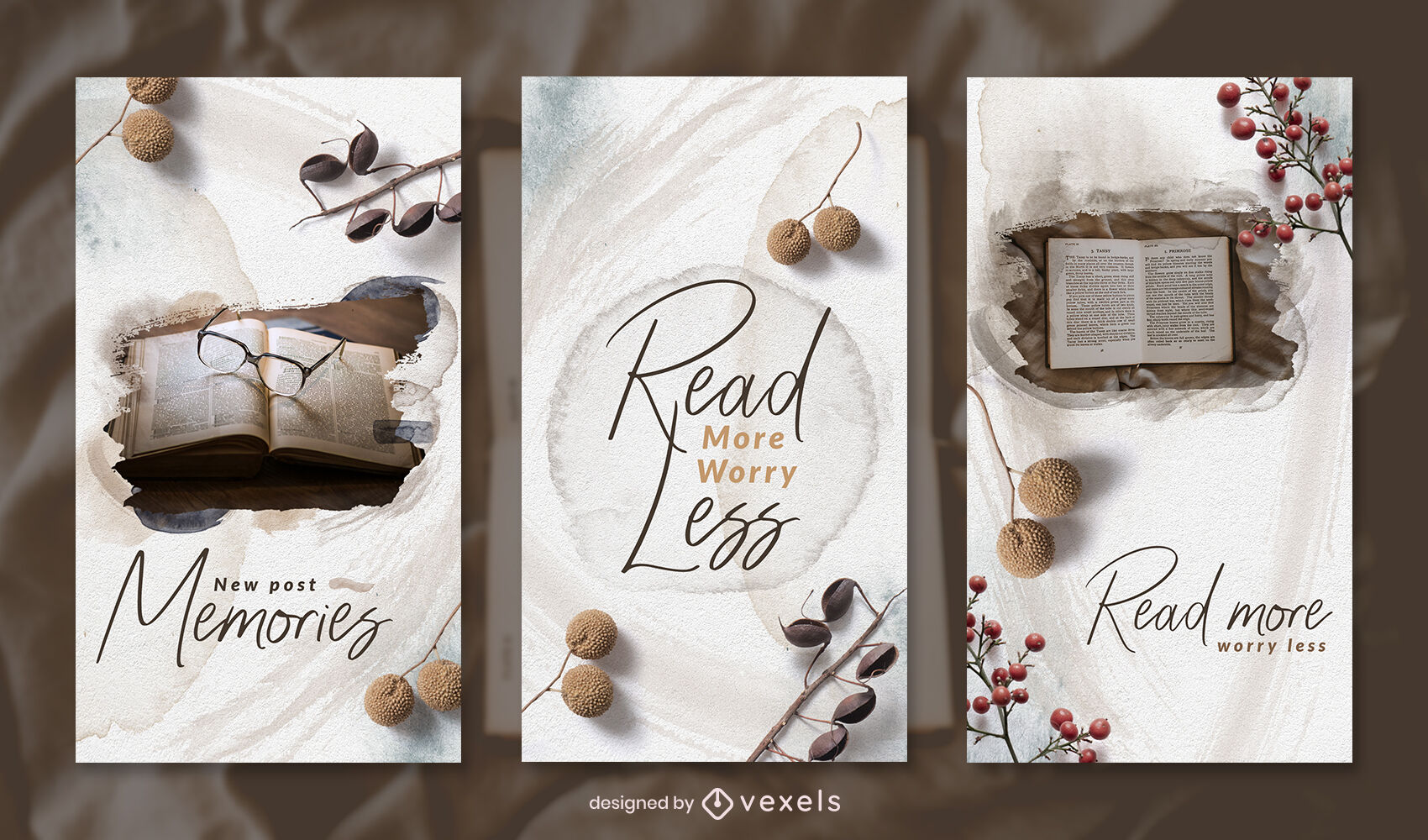 Natural elements watercolor instagram story template