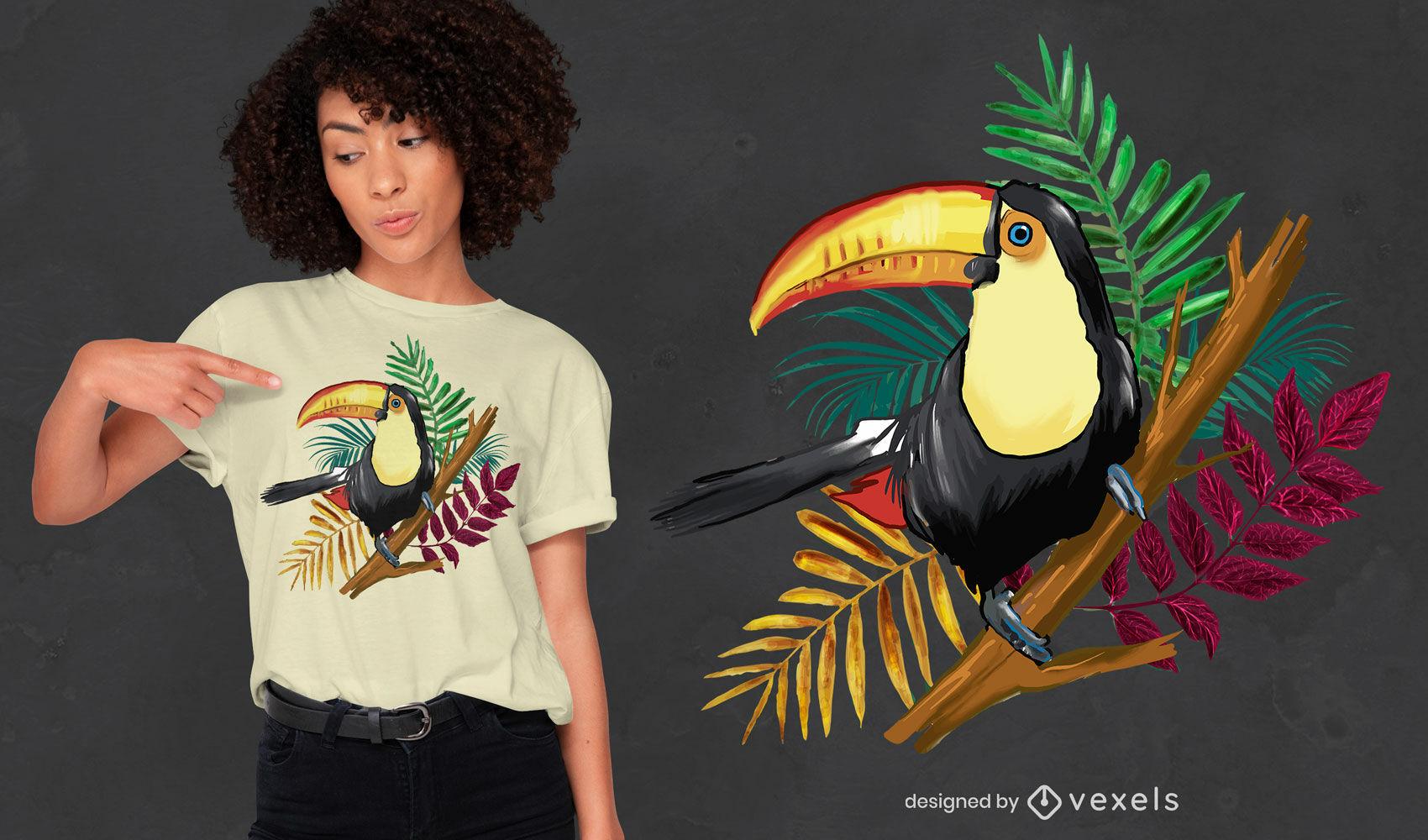 Toucan bird in branch psd t-shirt design