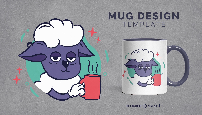 Diseño de taza de dibujos animados de animales de oveja cansada