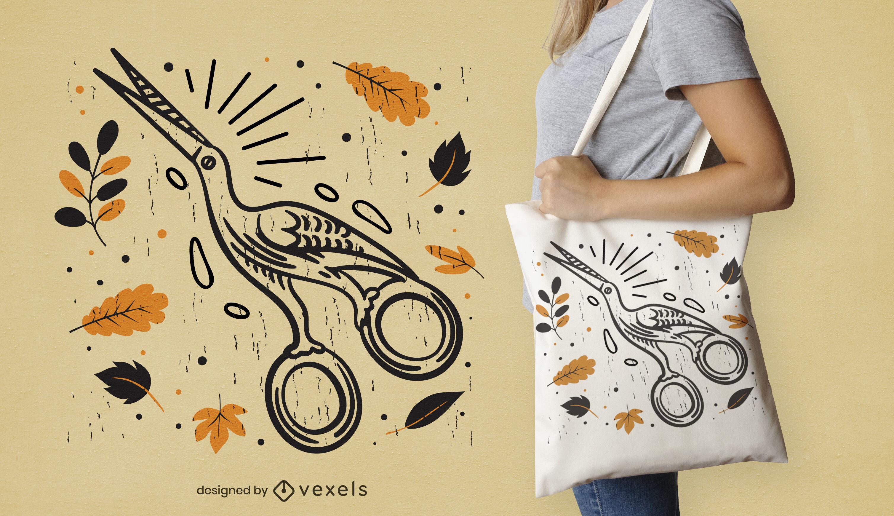 Scissor bird with leaves tote bag design