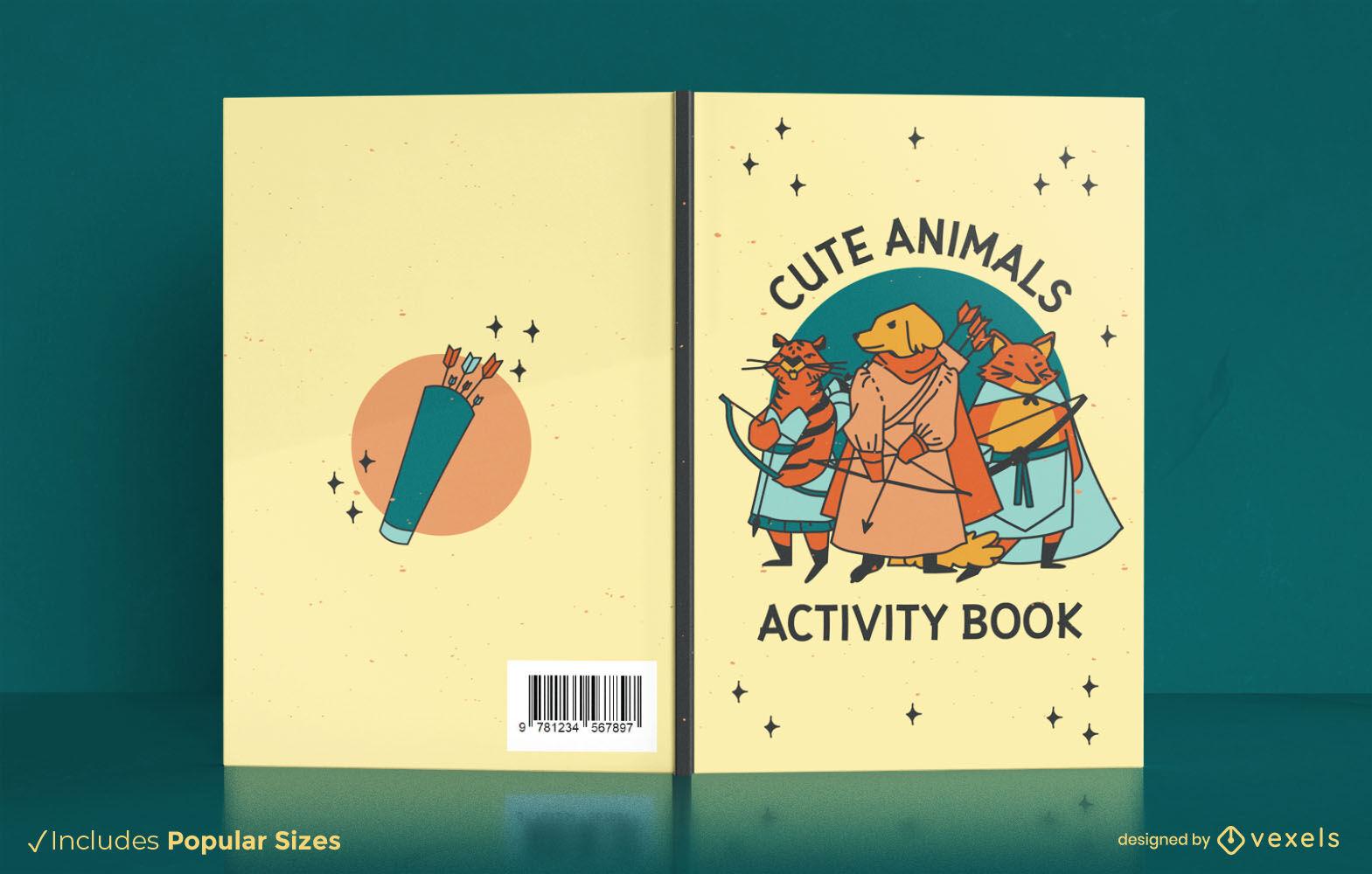 Design de capa de livro de personagens de animais medievais