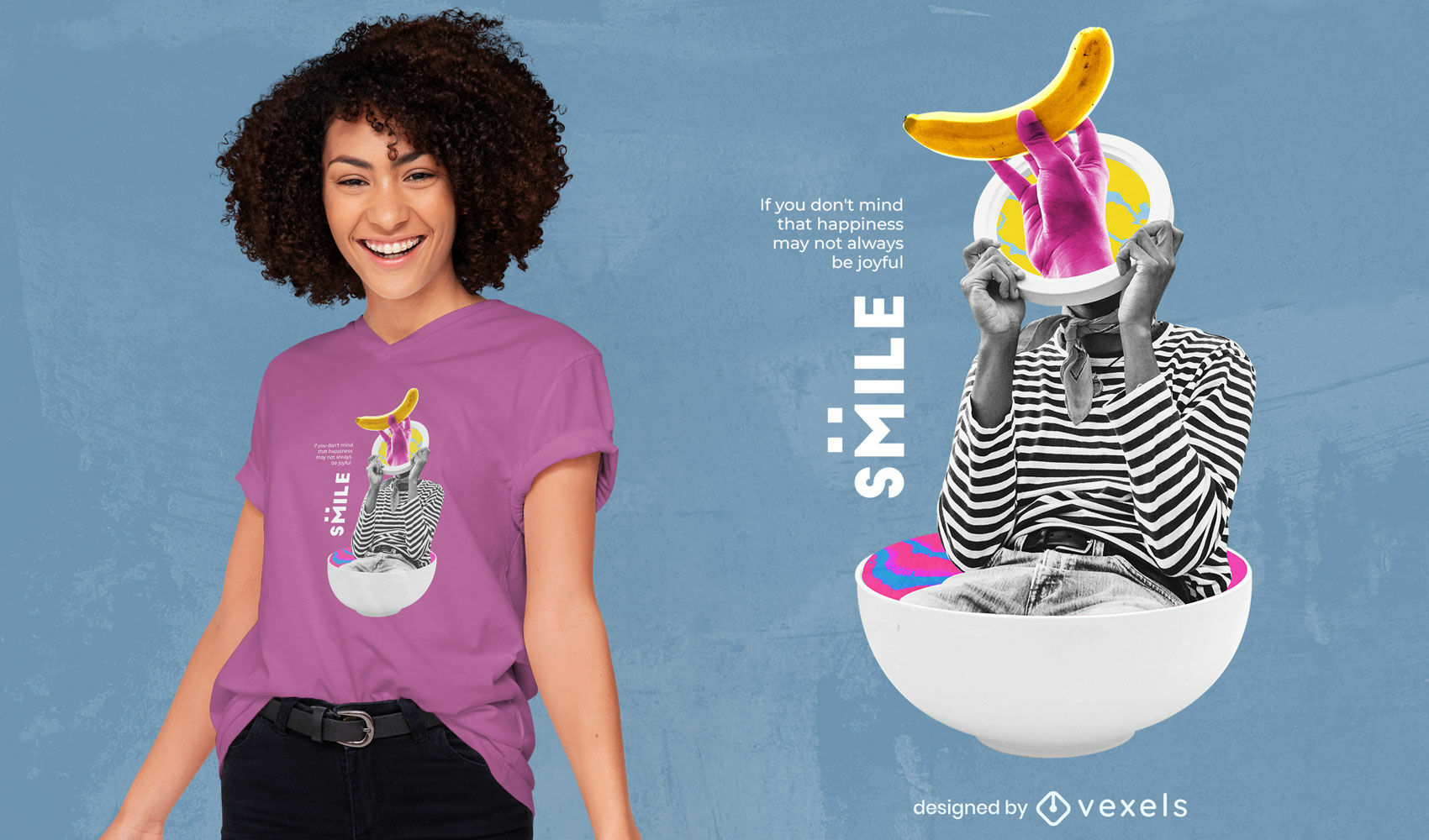 Smile girl in bowl psychedelic collage psd t-shirt design