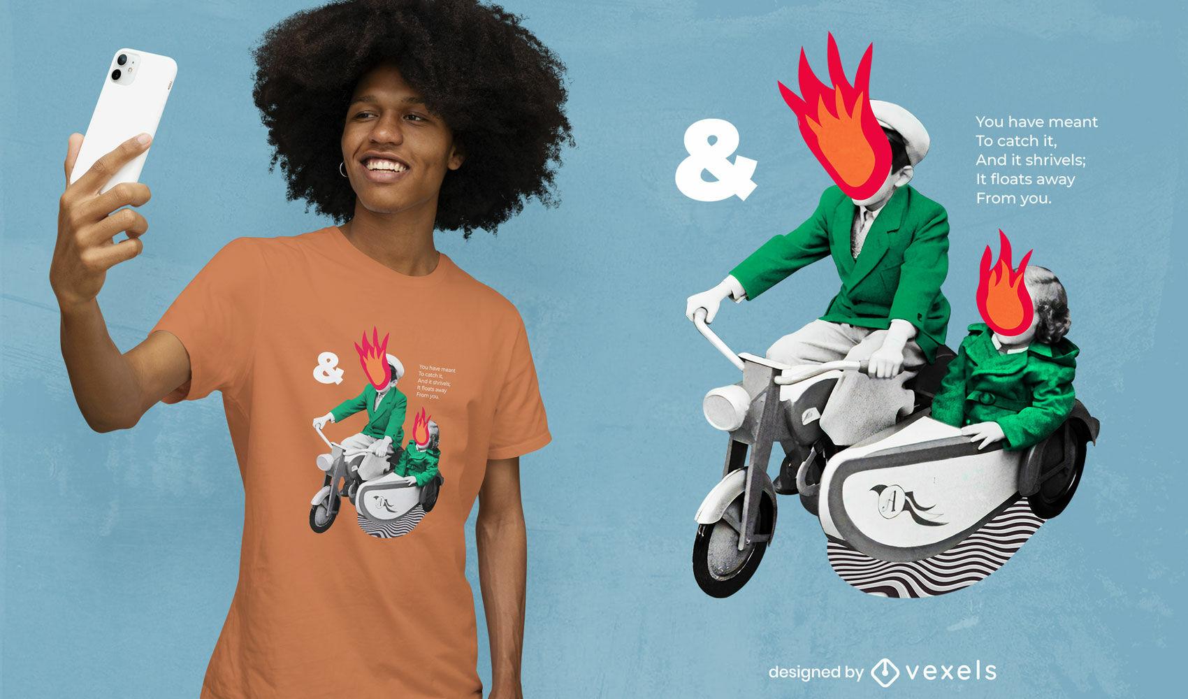 Diseño de camiseta psd de collage de hombre de moto