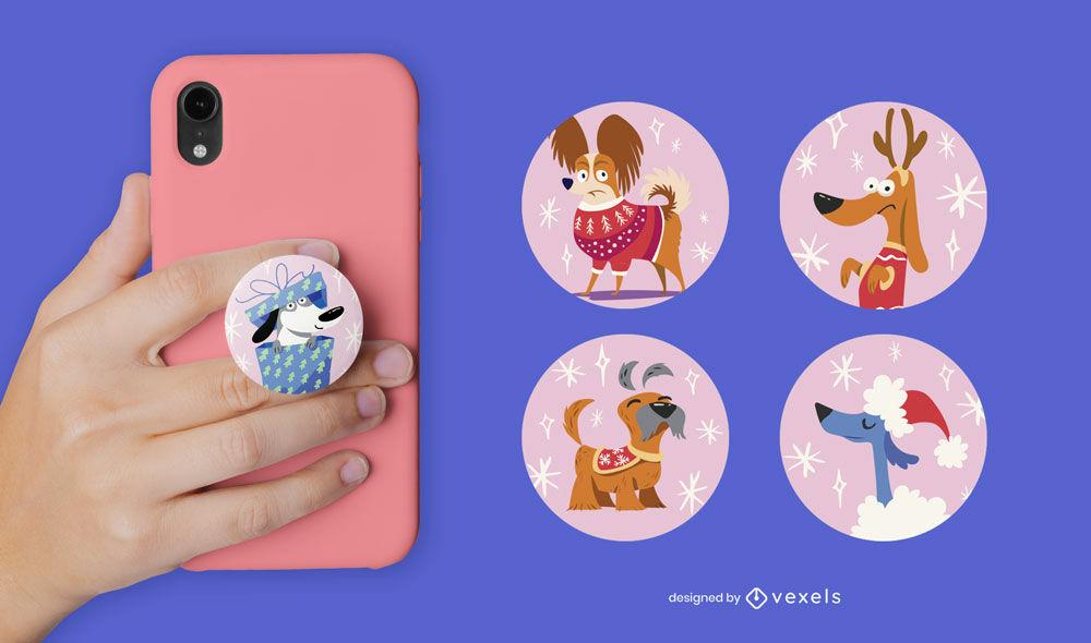 Dogs pet animals popsocket flat set