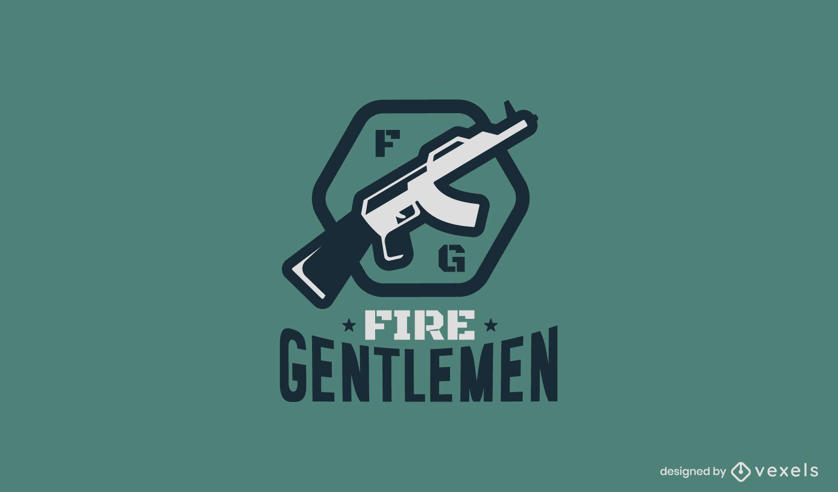 Plantilla de logotipo de empresa de armas de fuego