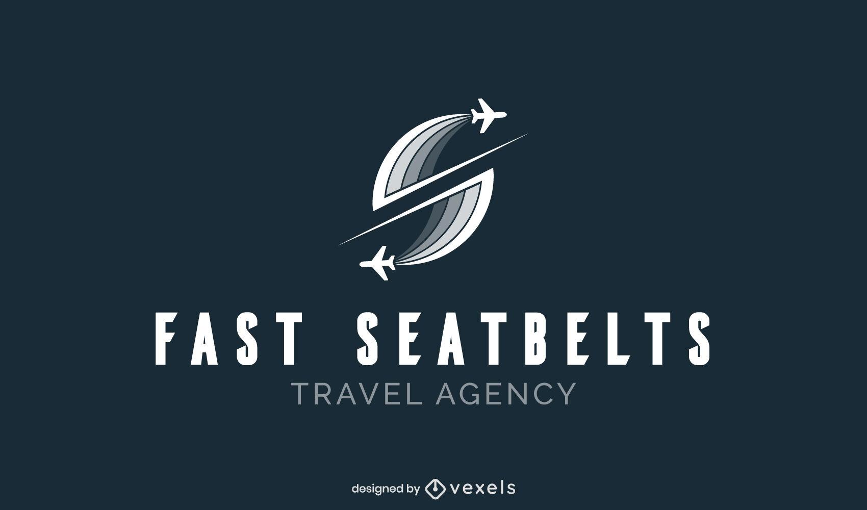 Modelo de logotipo voando com silhuetas de aviões