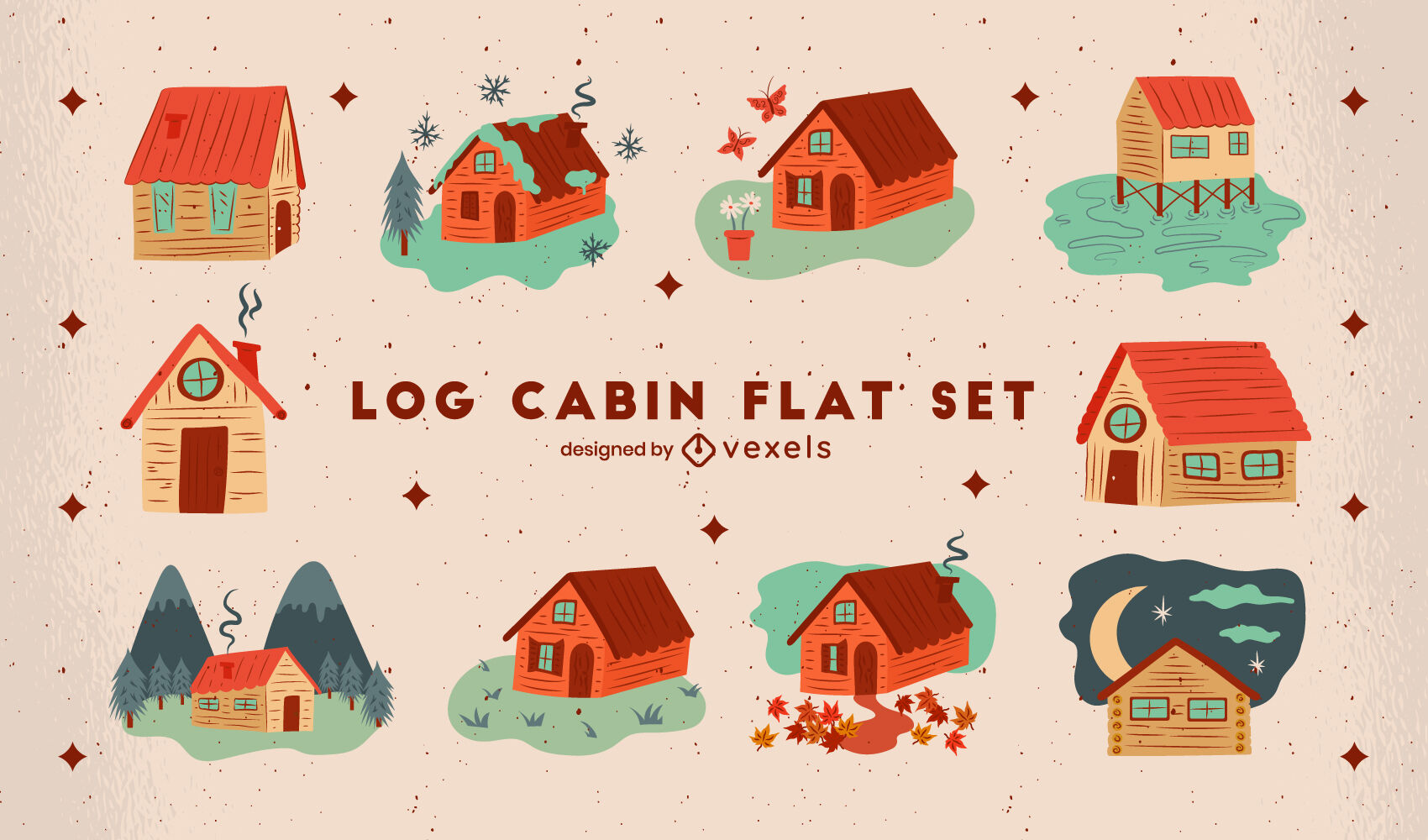 Wooden cabin houses camping flat set