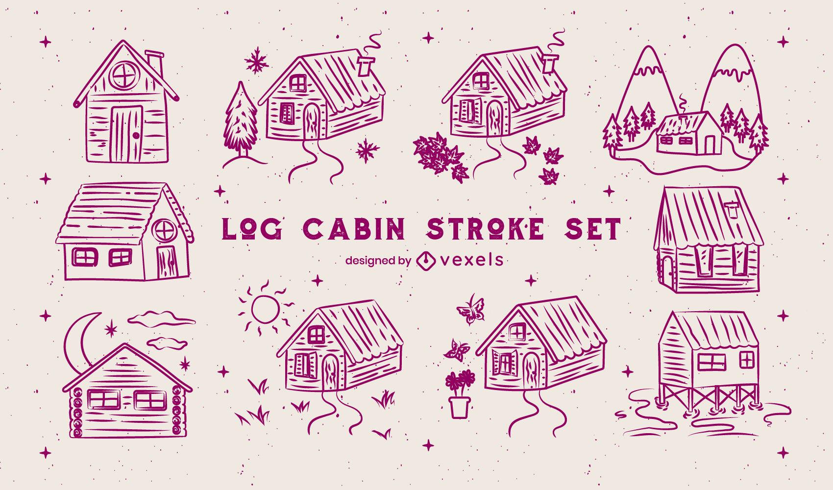 La caba?a de madera alberga el juego de trazos de camping.