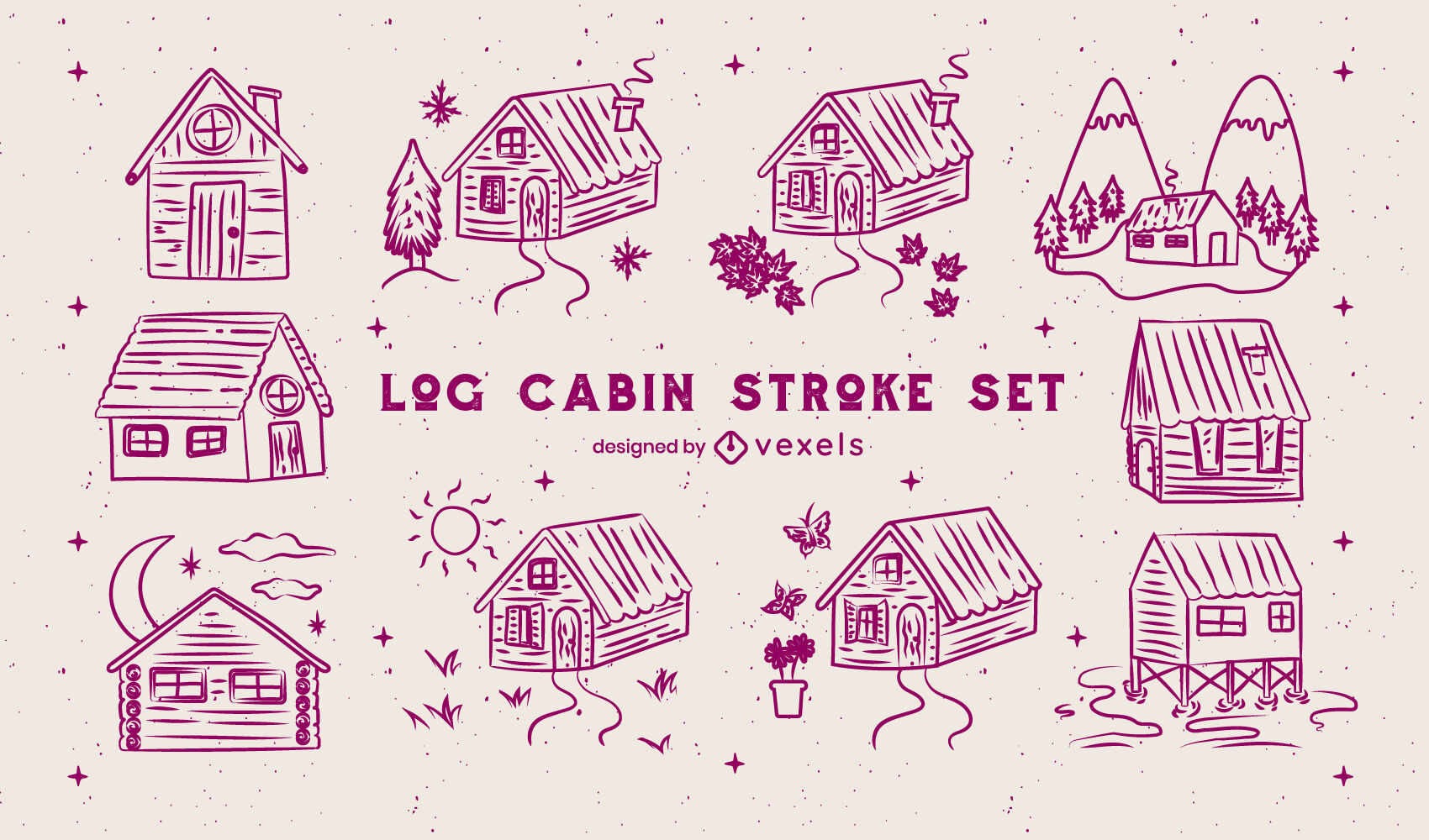 Wooden cabin houses camping stroke set