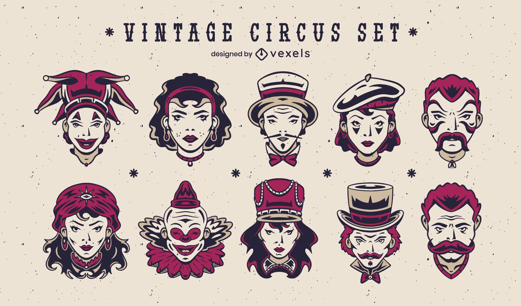 Conjunto de personagens vintage de circo e carnaval