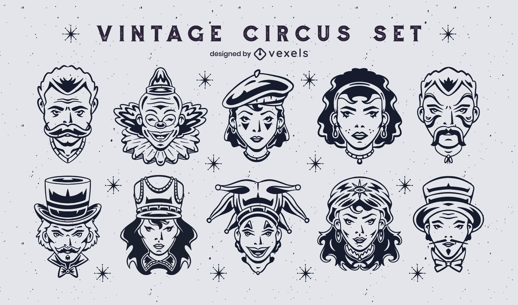 Circus performers vintage characters set