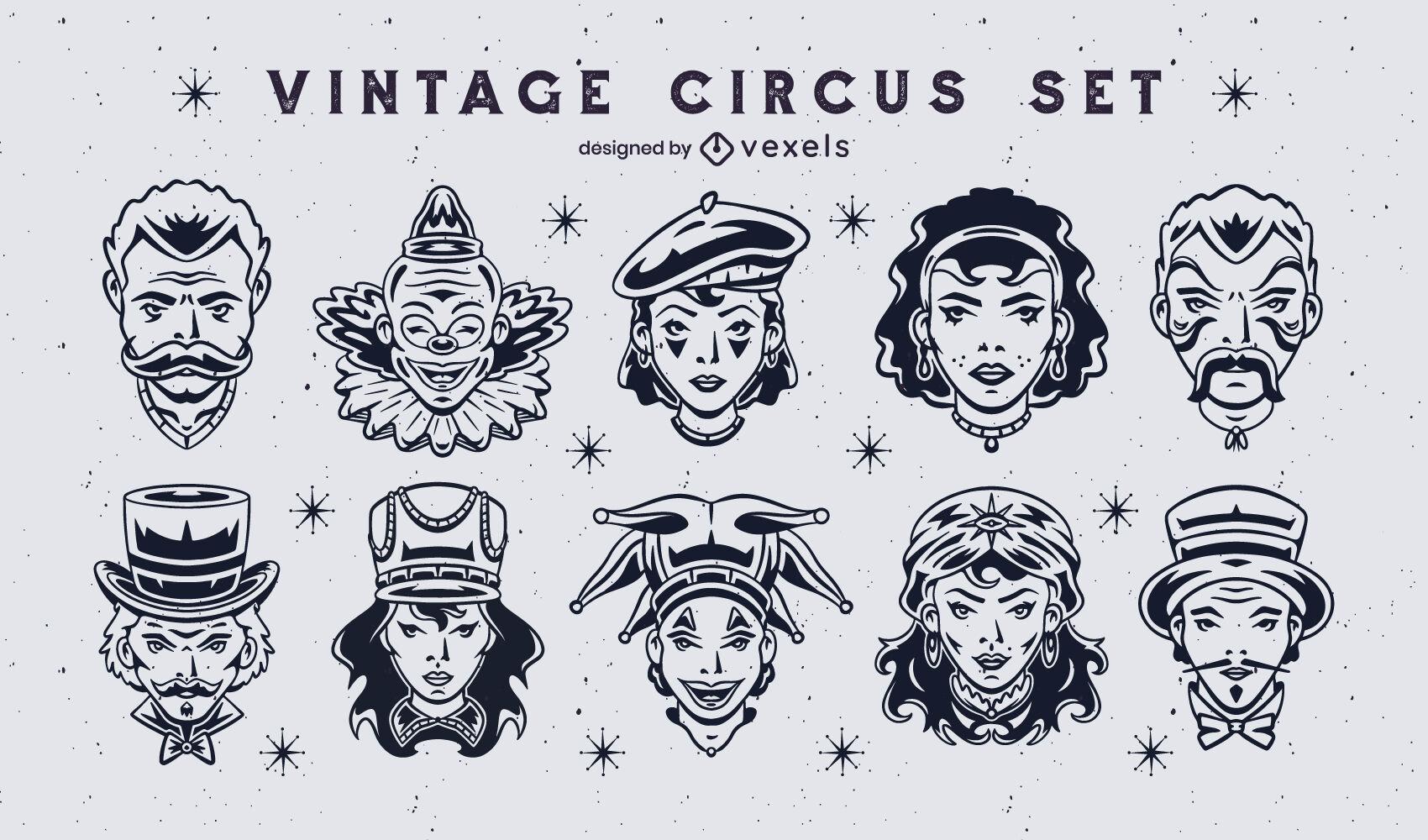 Conjunto de personagens vintage de artistas de circo