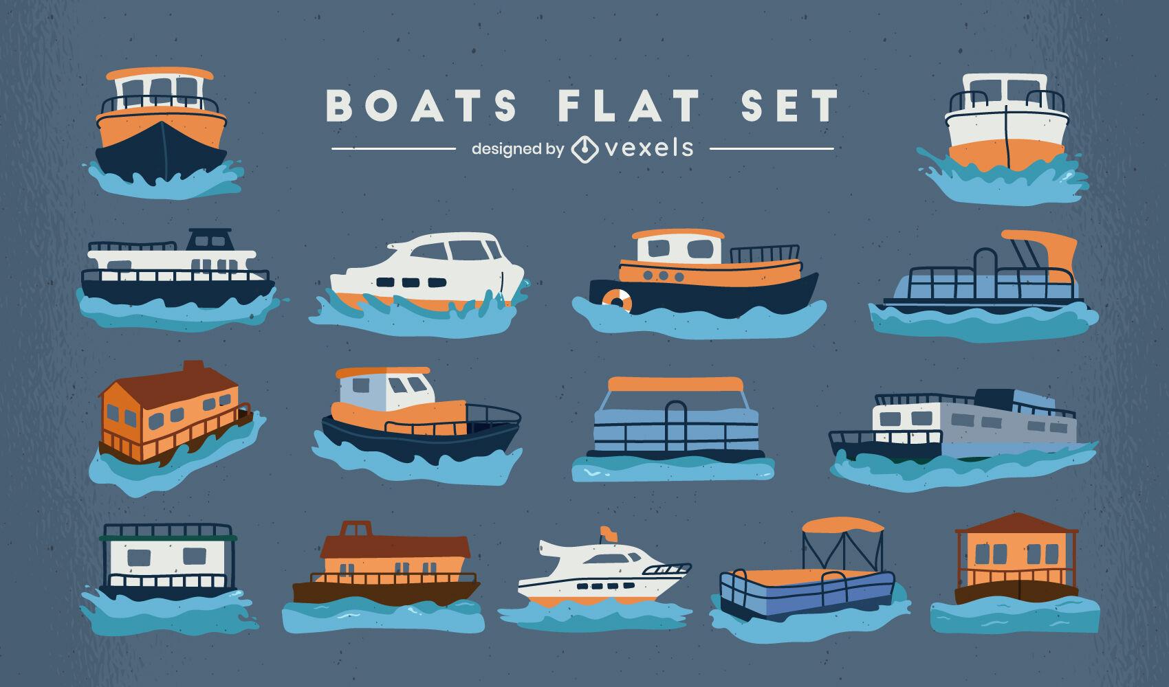 Conjunto plano de transporte de barcos y barcos.