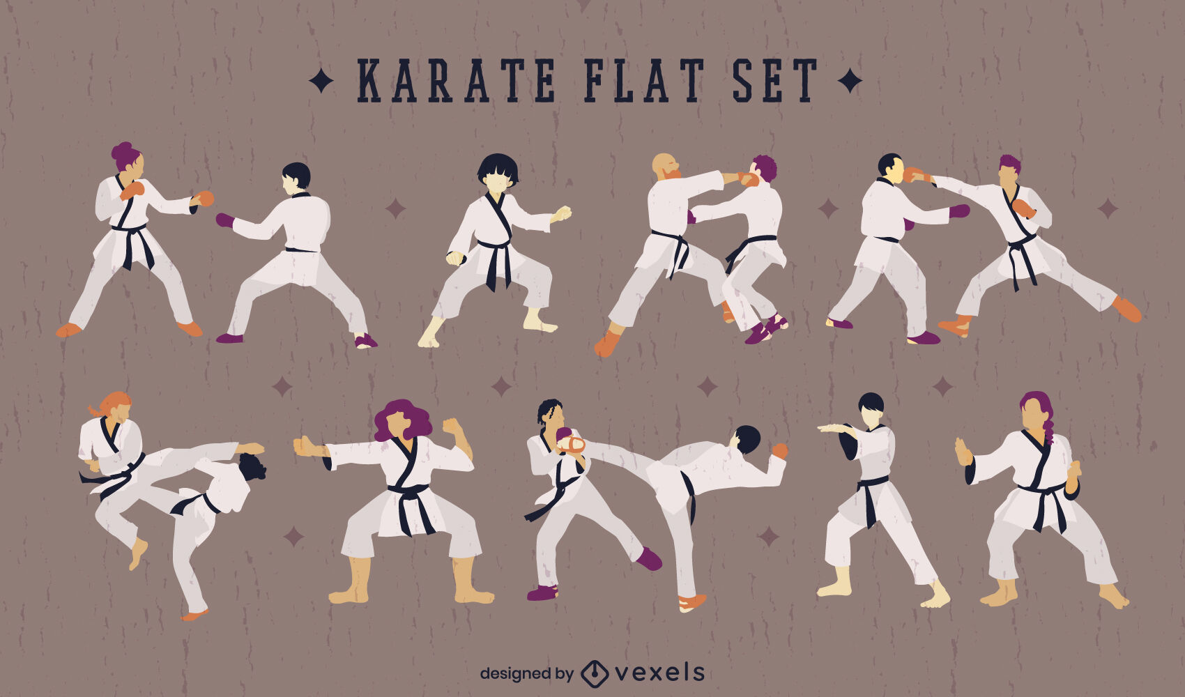 Karate martial arts sport people set