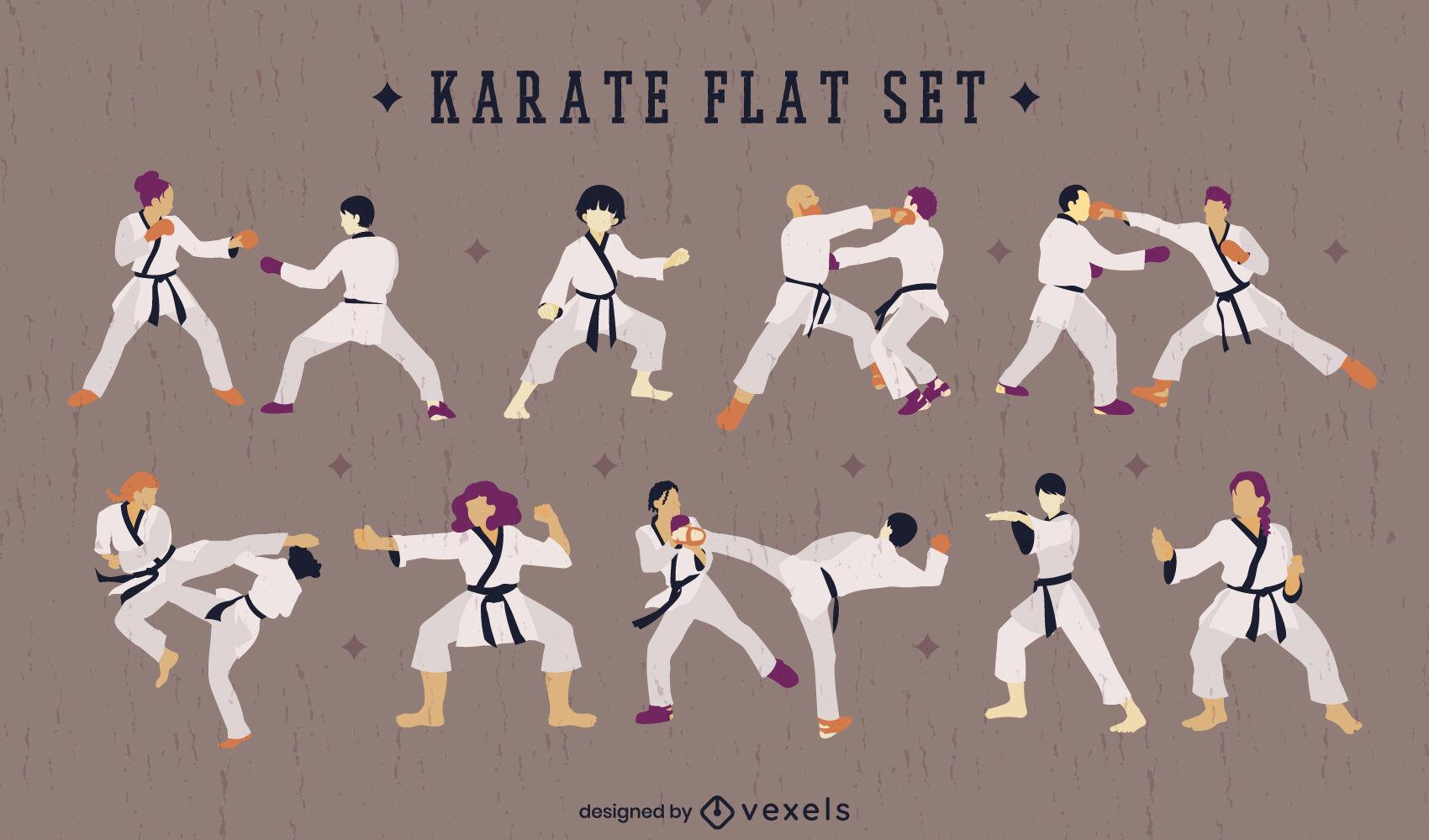 Pessoas de esporte de artes marciais de carat? definido