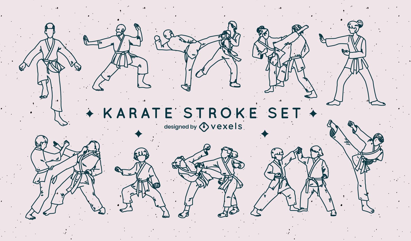 Karate martial arts sport people stroke set