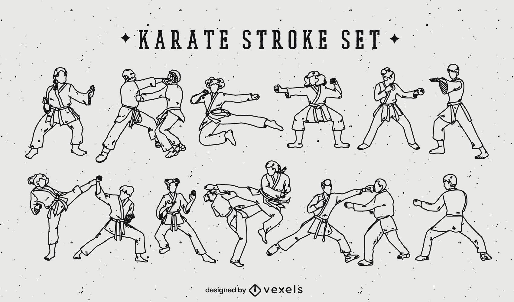 Karate martial arts moves people stroke set