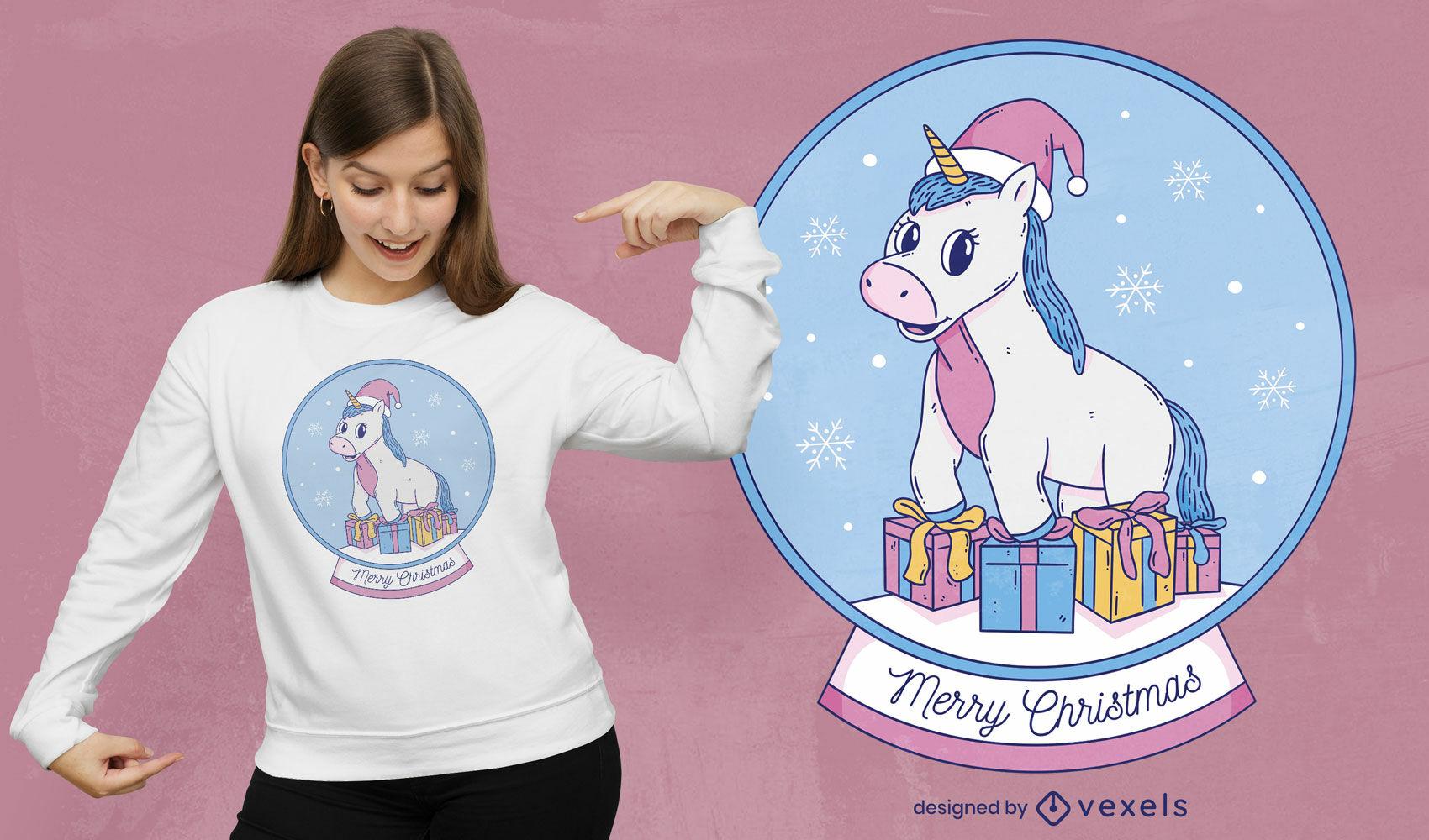 Design de t-shirt de unicórnio com cúpula de natal