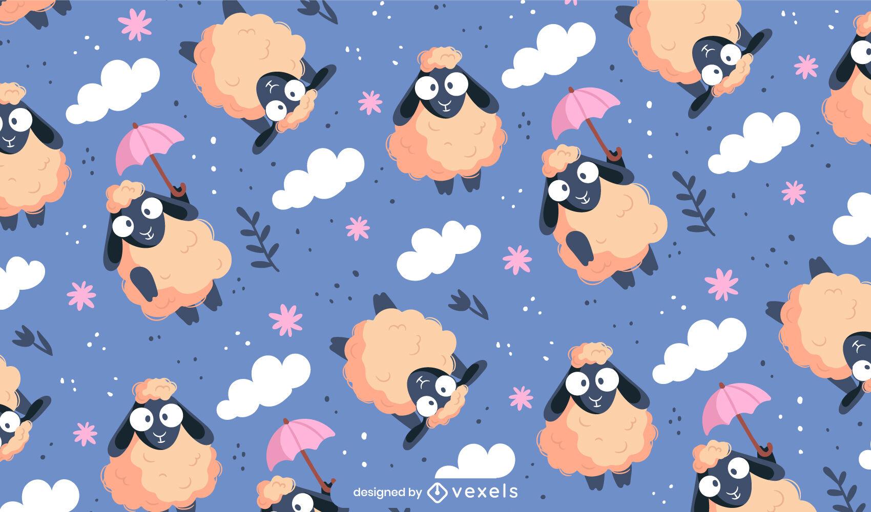 Lindo diseño de patrón animal de oveja voladora