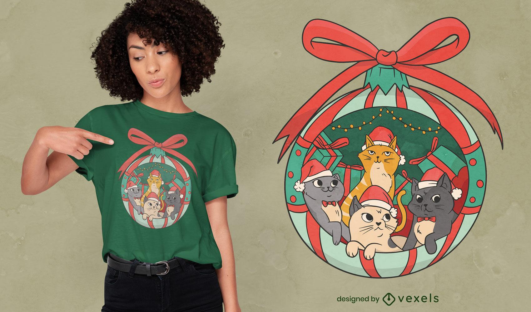 Lindo dise?o de camiseta de gatos navide?os
