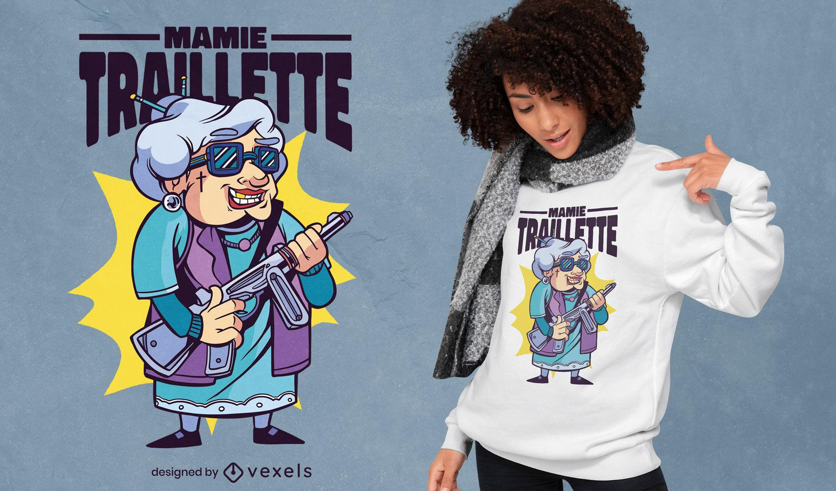 Grandmother with gun t-shirt design