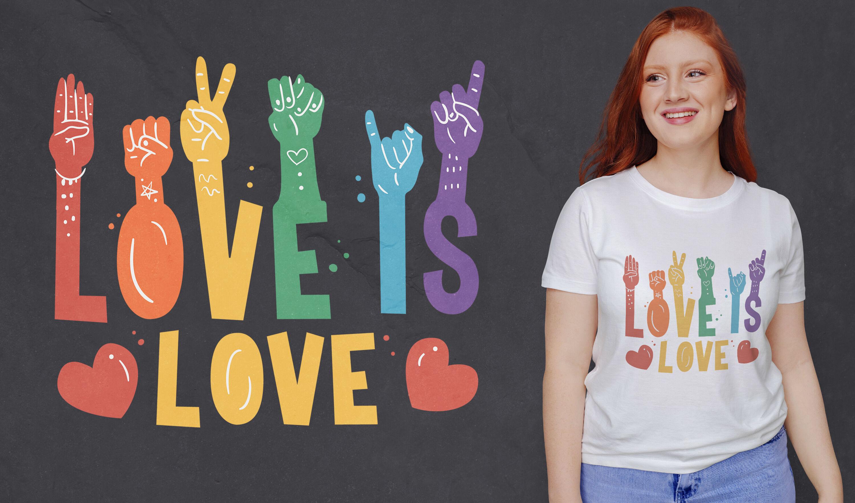 Love is love dise?o de camiseta en lenguaje de se?as.