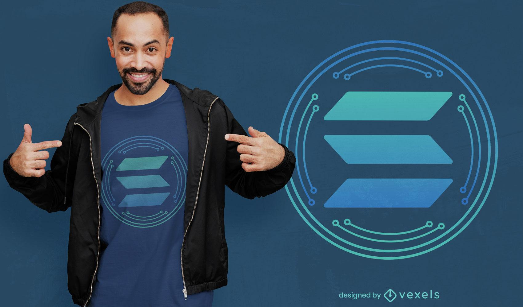 Diseño de camiseta de símbolo de moneda criptográfica solana