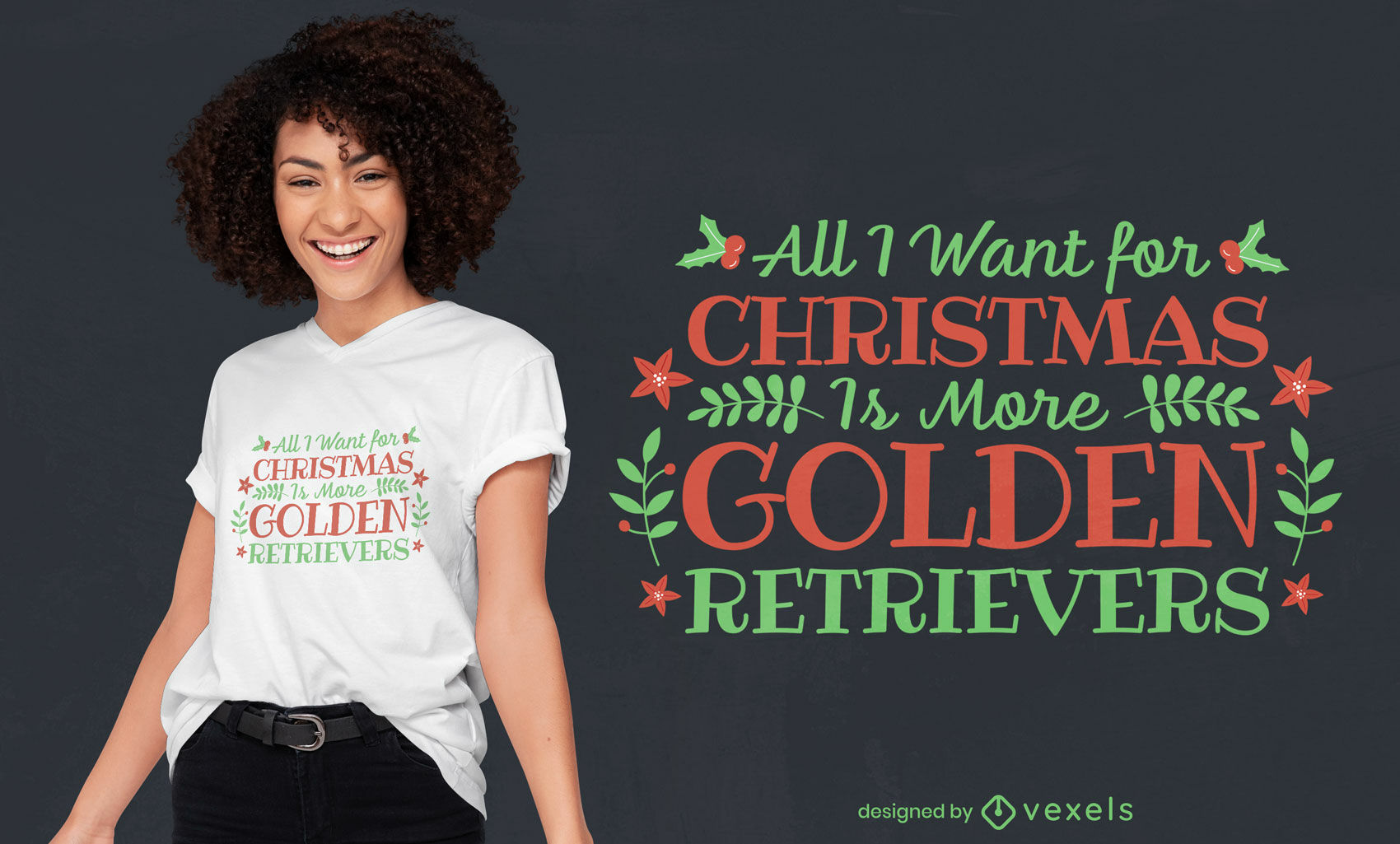 Christmas dogs quote t-shirt design