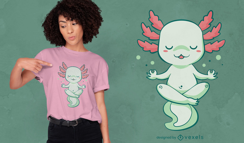 Dise?o de camiseta kawaii axolotl meditando