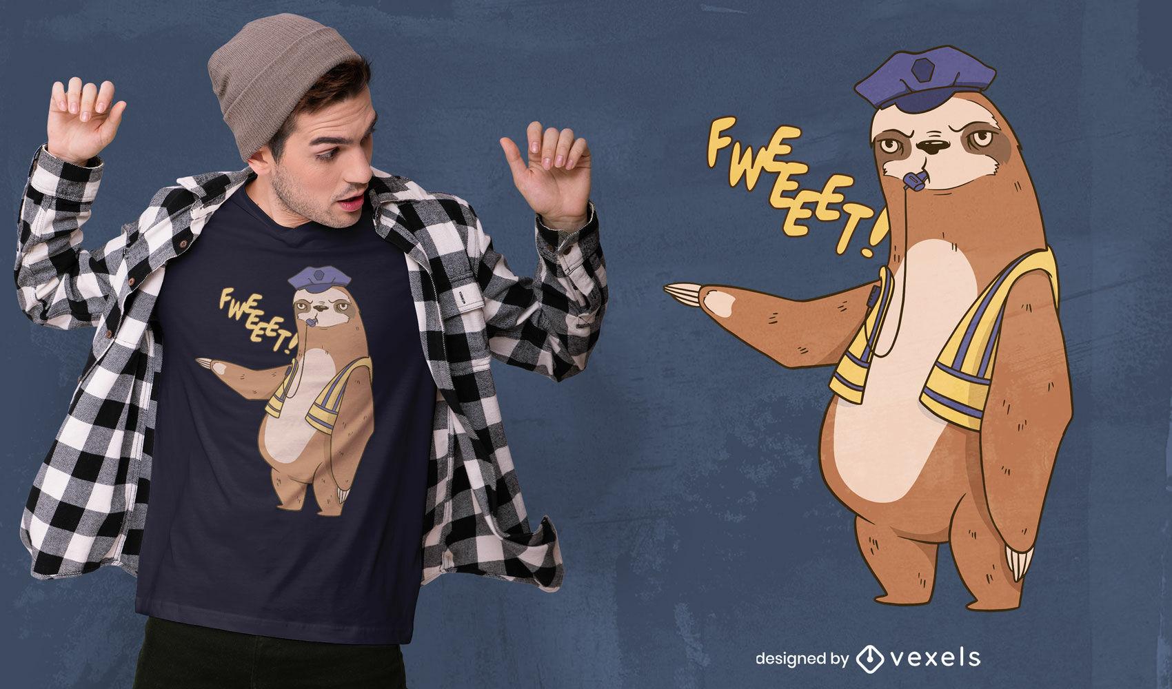 Sloth traffic cop t-shirt design