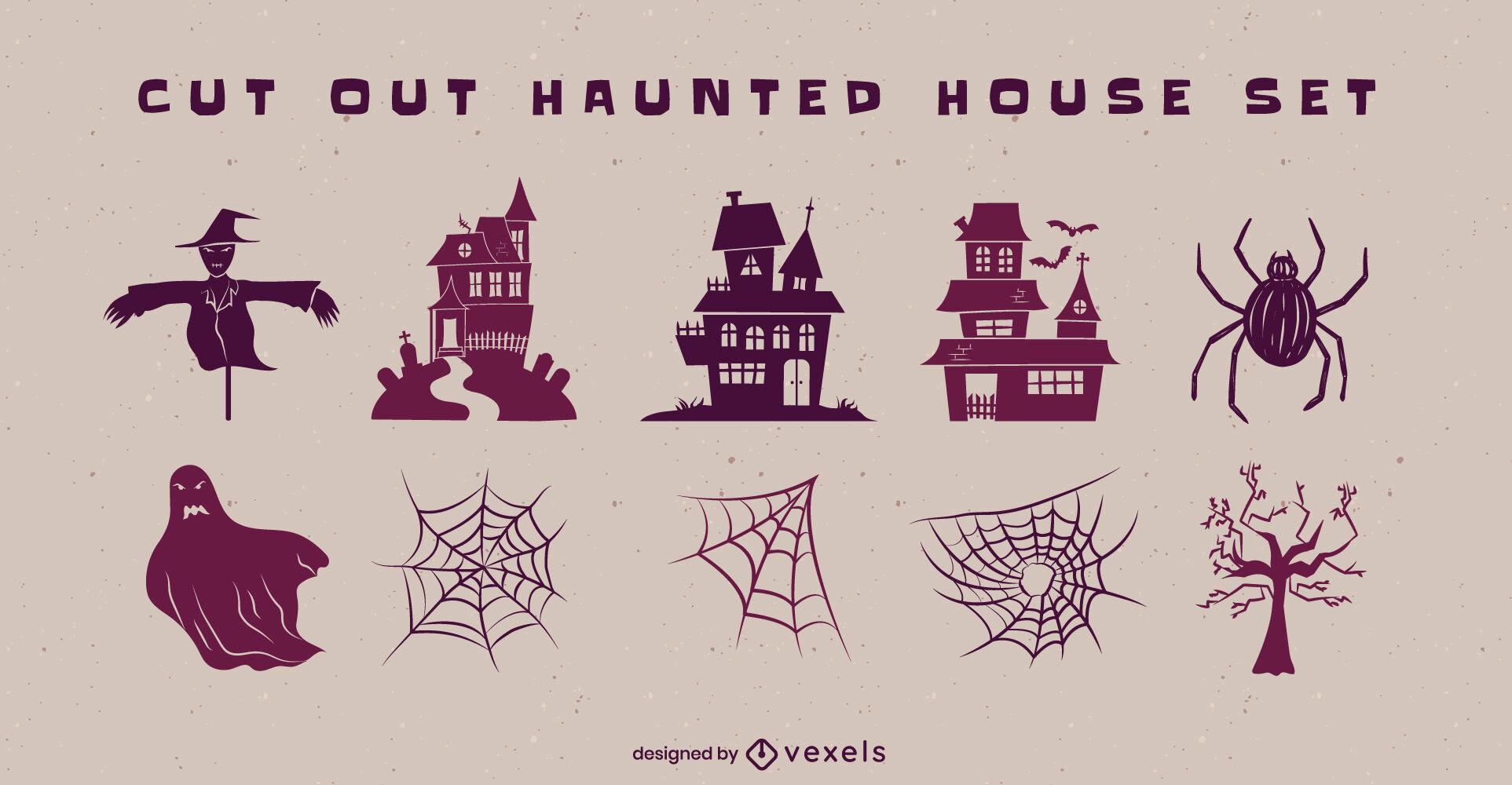 Conjunto assustador de halloween em casa mal-assombrada