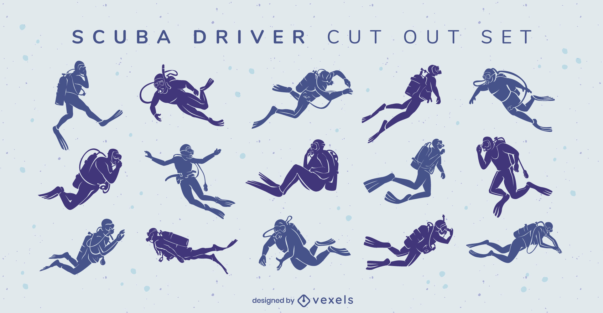 Scuba diving hobby people cut out set