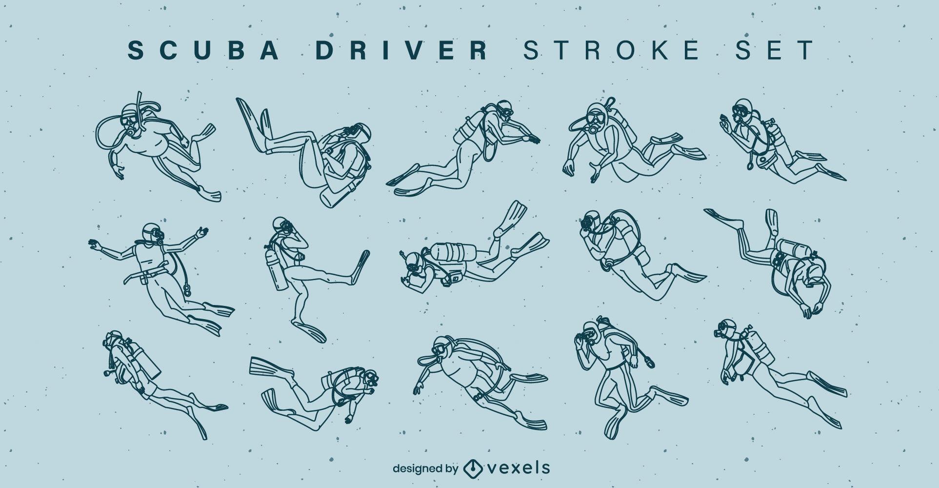 Scuba diving hobby people stroke set