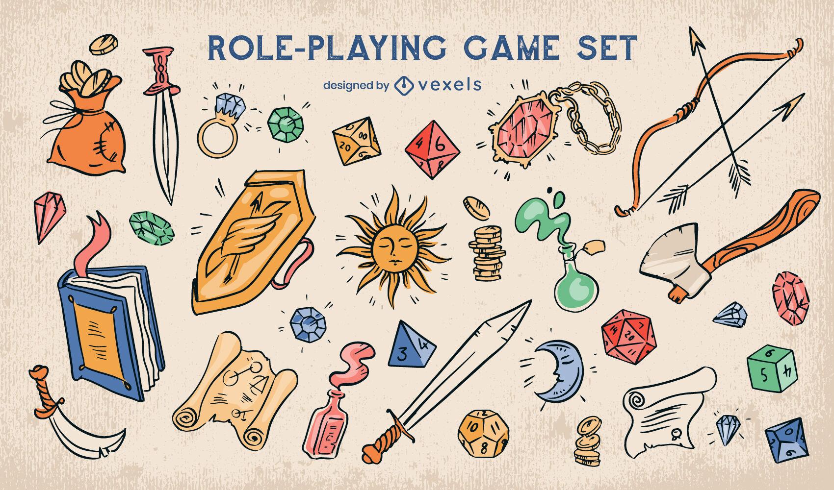 Conjunto de elementos de juego de rol de fantasía
