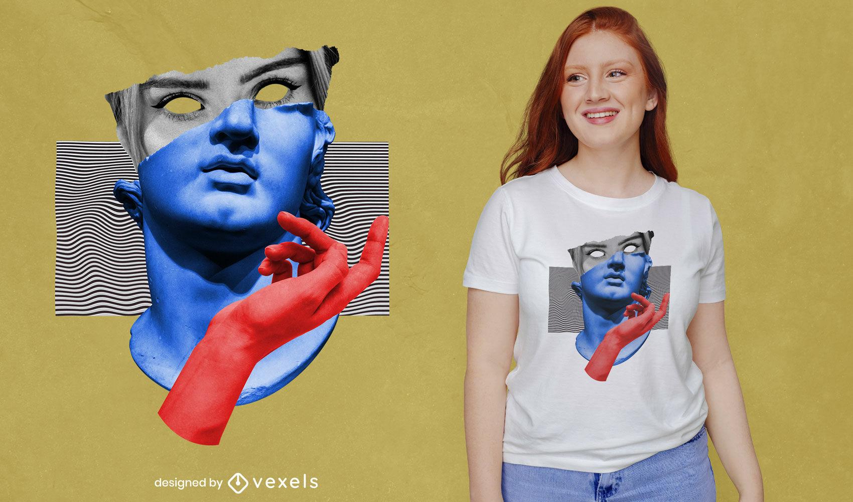 Design de t-shirt psd estátua de arte em vaporwave com colagem