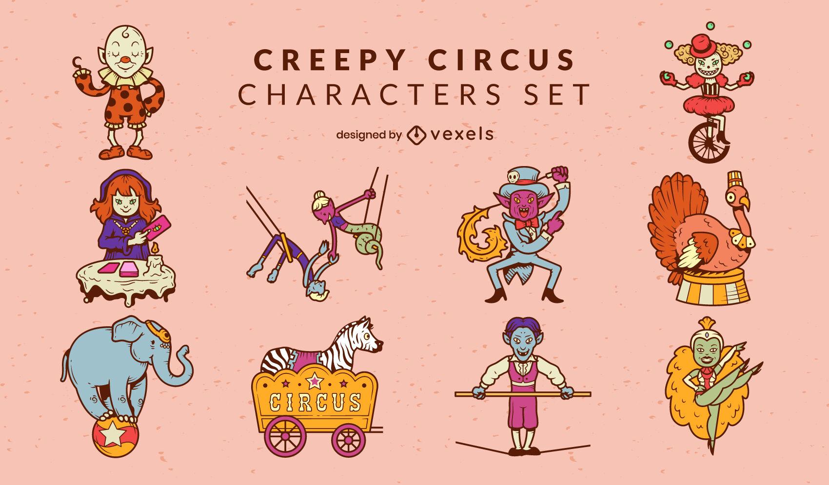 Conjunto de personajes espeluznantes de artistas de circo.