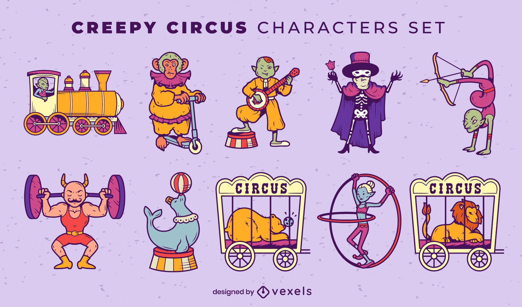 Conjunto de personajes de artistas de circo y carnaval.