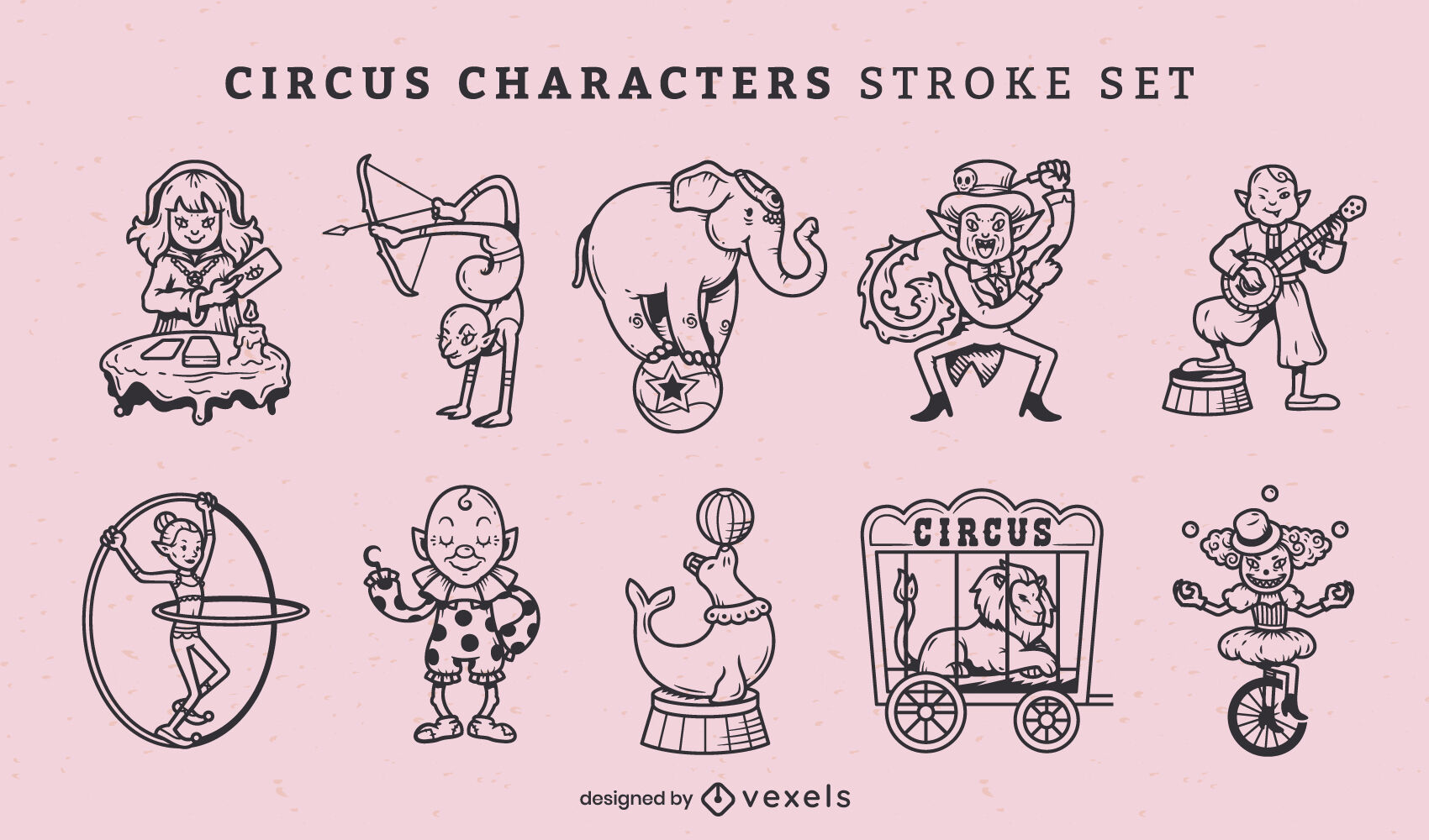 Circus and carnival performers stroke set
