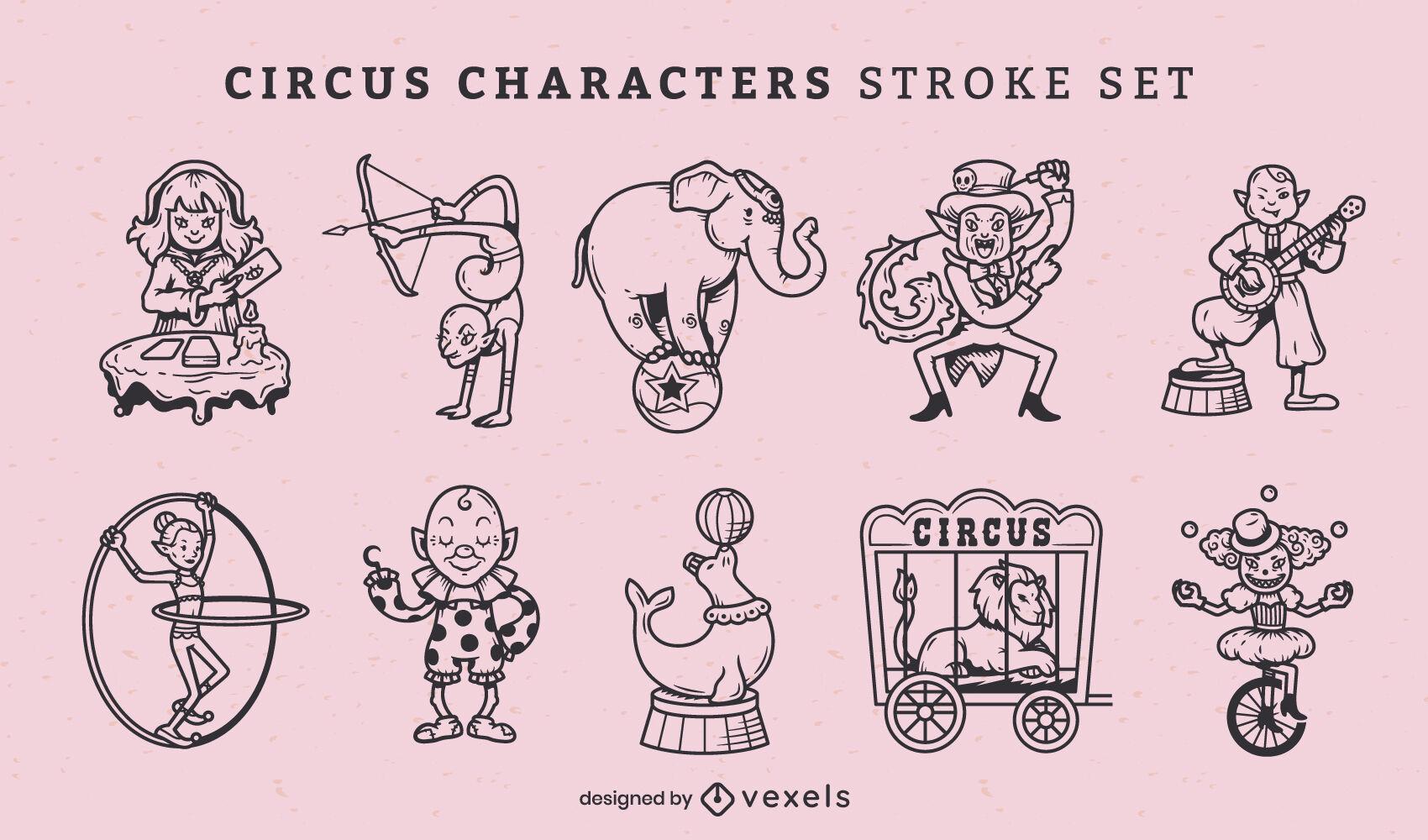 Conjunto de tacadas de artistas de circo e carnaval