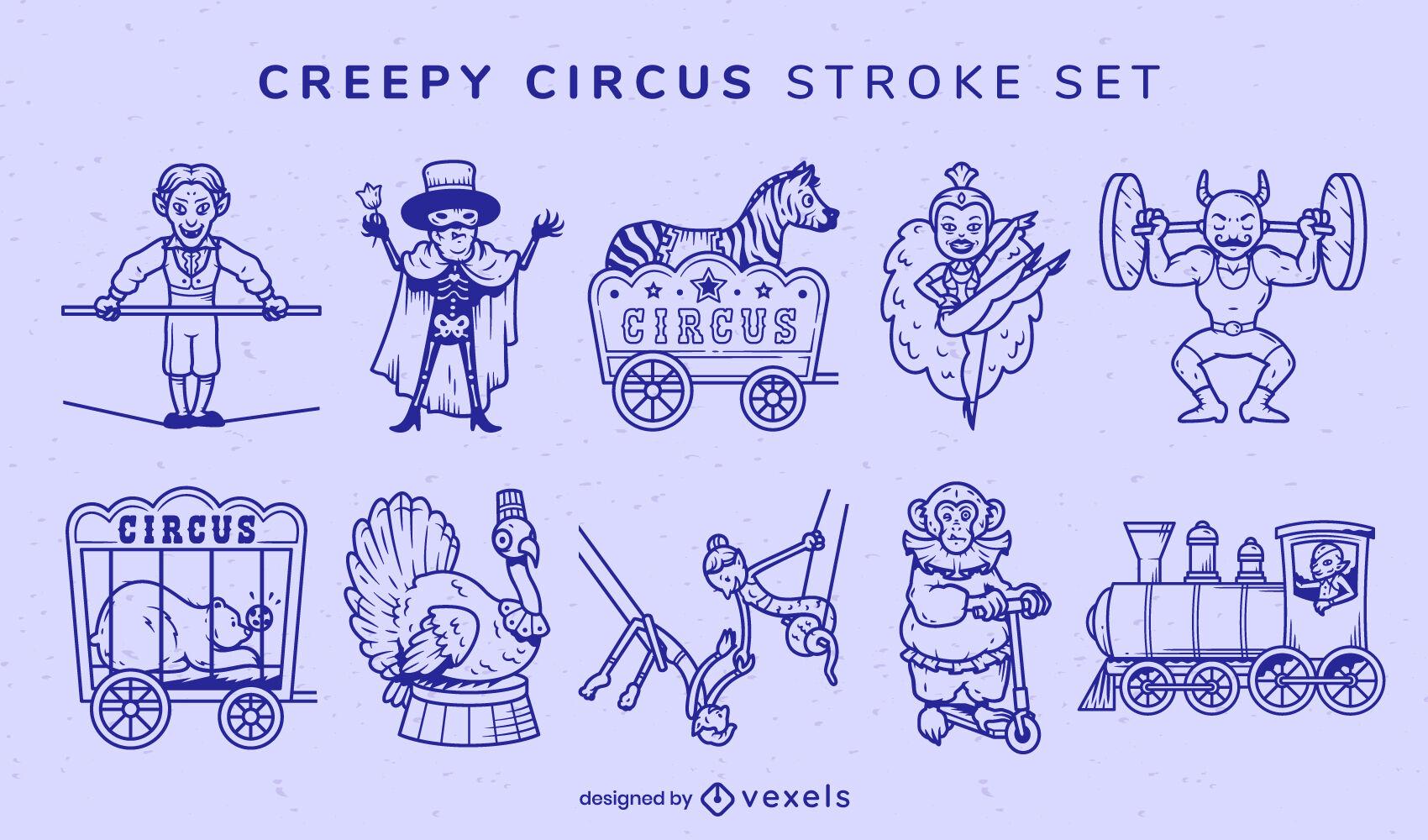 Conjunto de traços de personagens assustadores de artistas de circo