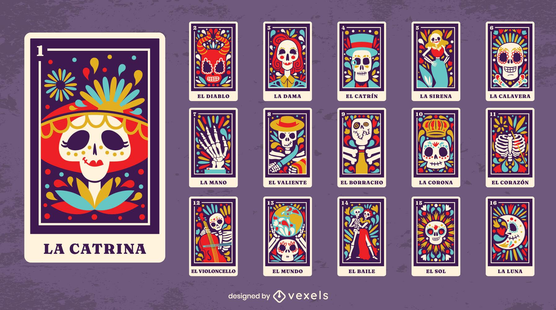 Coleção de cartas de tarô do dia dos mortos