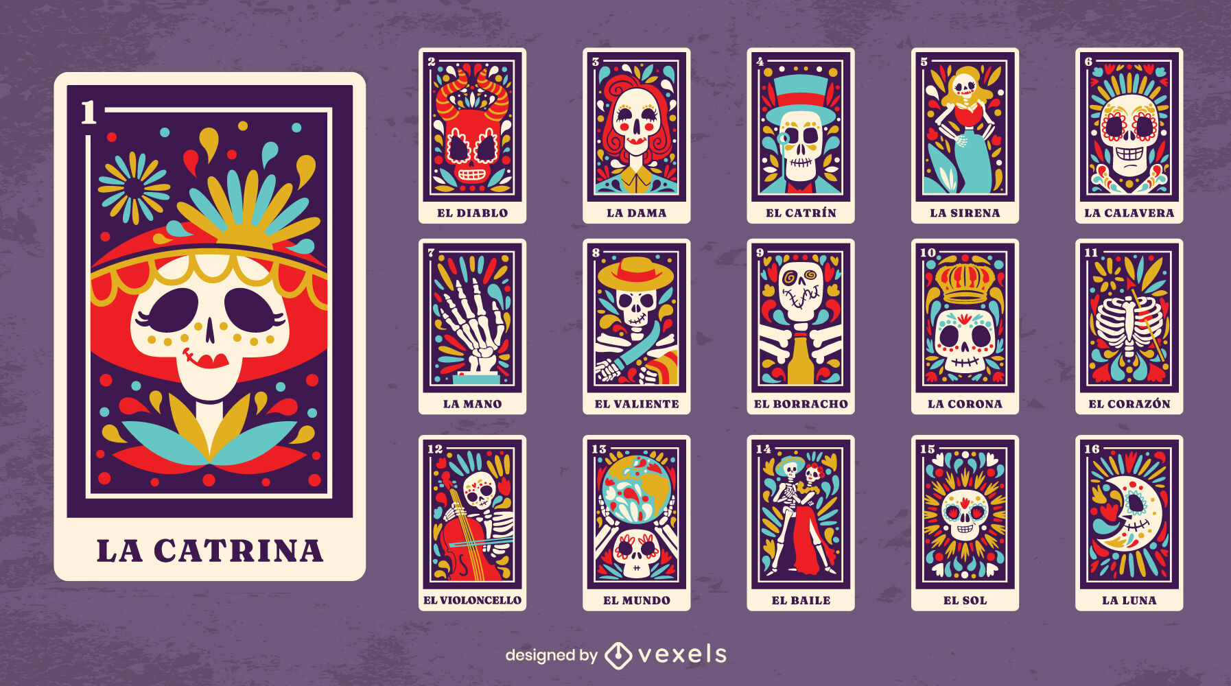 Day of the dead tarot cards collection