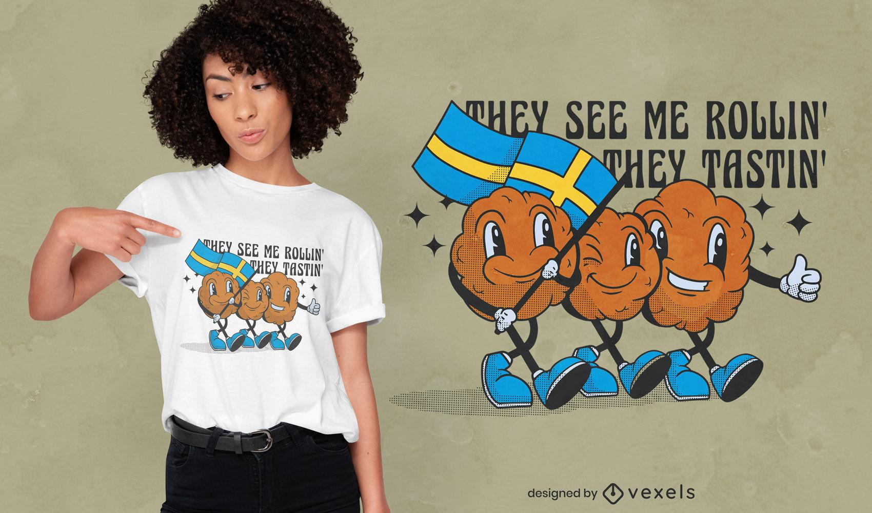 Design de camiseta engraçada sueca de bolo de carne