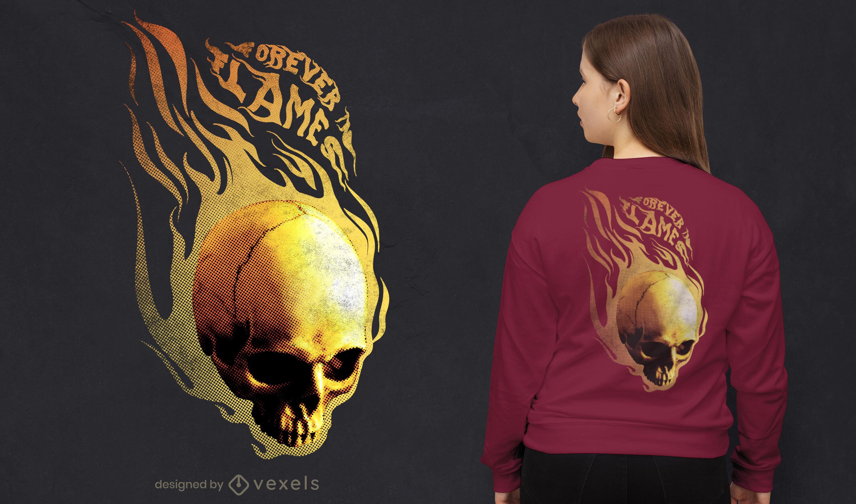 Diseño de camiseta de calavera en llamas psd