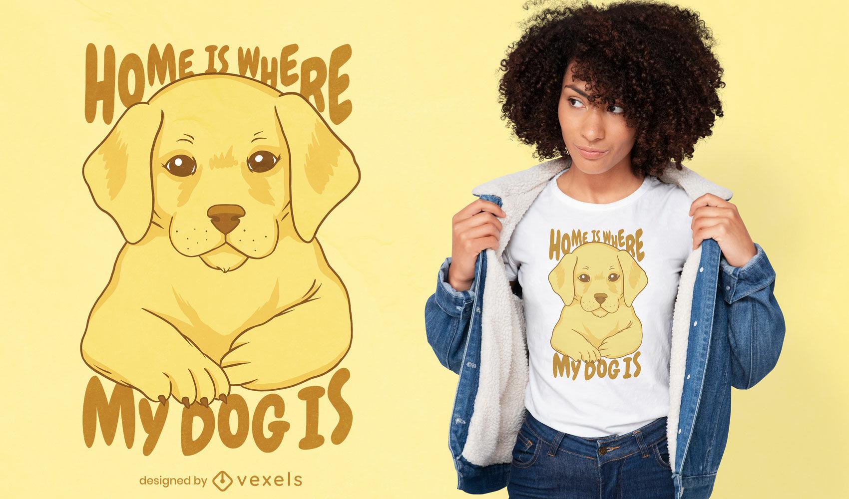 Diseño lindo de la camiseta de la cita del hogar del perro