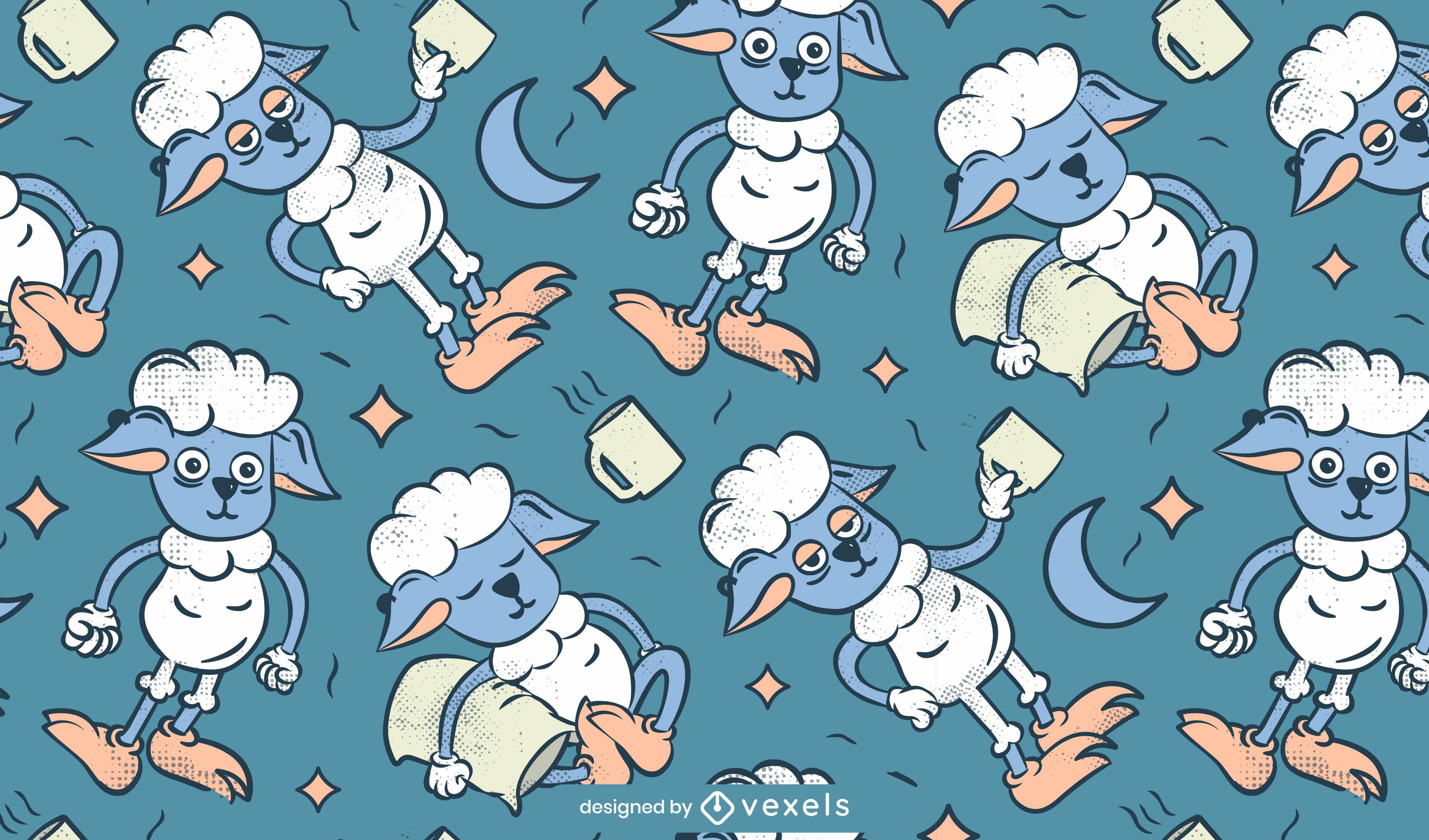 Diseño de patrón de dibujos animados de animales de oveja