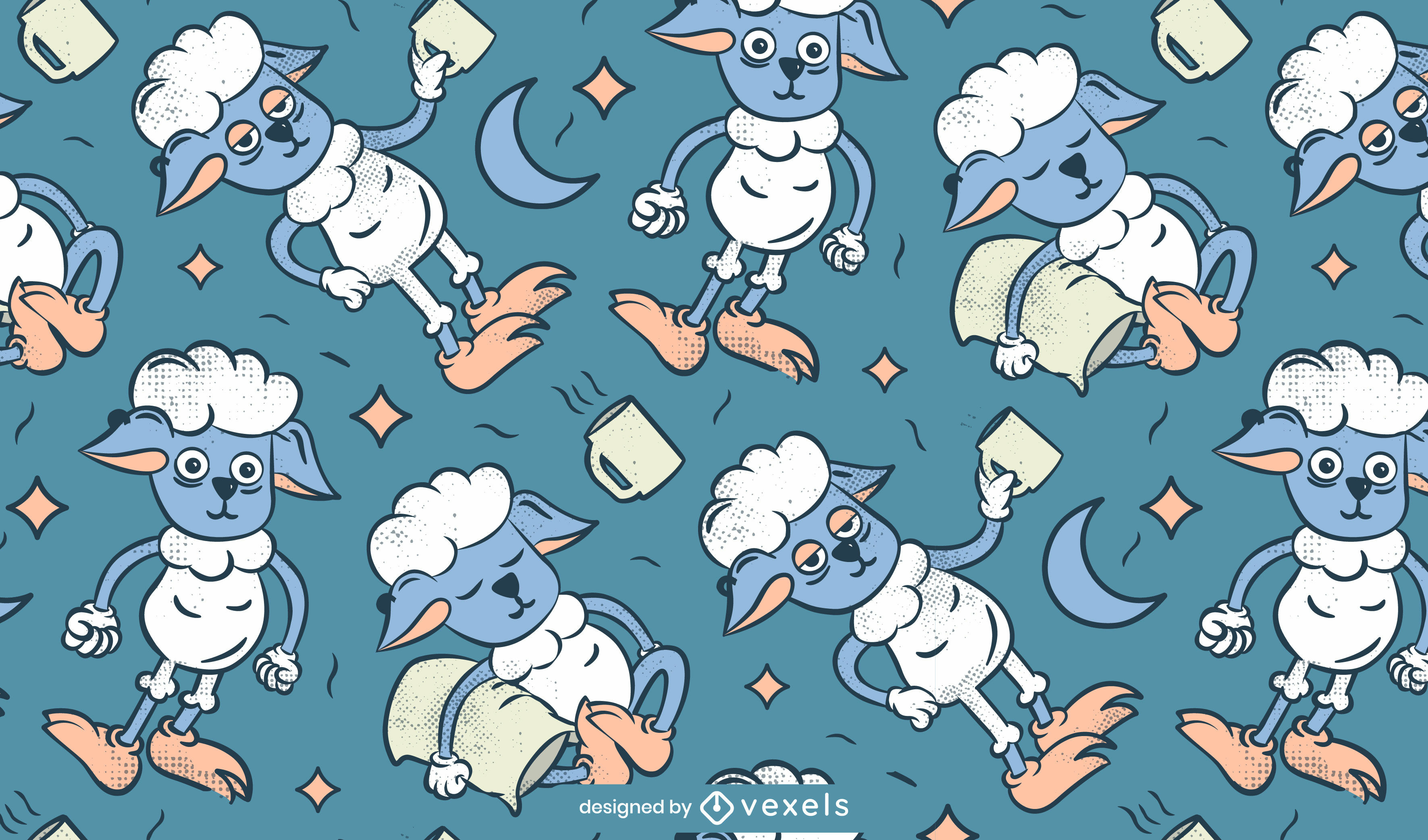 Sheep animal cartoon pattern design