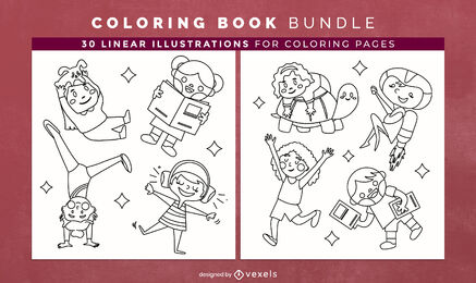 Children playing coloring book pages design